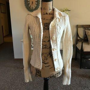 Hollister cream cardigan sweater